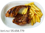 Grilled rabbit with vegetable garnish of fried potatoes. Стоковое фото, фотограф Яков Филимонов / Фотобанк Лори