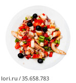 Traditional Spanish seafood salpicon - cold salad from mix of seafood. Стоковое фото, фотограф Яков Филимонов / Фотобанк Лори