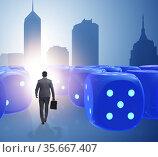Businessman walking away from random chances of success. Стоковое фото, фотограф Elnur / Фотобанк Лори