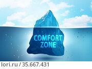 Concept of leaving zone of comfort - 3d rendering. Стоковое фото, фотограф Elnur / Фотобанк Лори
