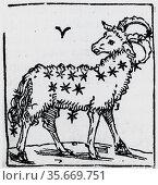 Zodiac sign of Aries. From 'Sphaera mundi', Strasburg, 1539. Редакционное фото, агентство World History Archive / Фотобанк Лори