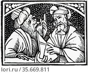 Astronomers. From the title page of 'Opera' of Appolonius of Perga, 1537. Редакционное фото, агентство World History Archive / Фотобанк Лори