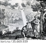 Baptism of Christ, symbolising for Hermetists the divine nature of the microcosm, Man, and the influence of he Holy Spirit (Dove).  Engraving 1617. Редакционное фото, агентство World History Archive / Фотобанк Лори