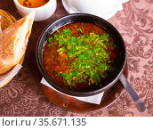 Georgian kharcho soup with lamb garnished with fresh greens. Стоковое фото, фотограф Яков Филимонов / Фотобанк Лори