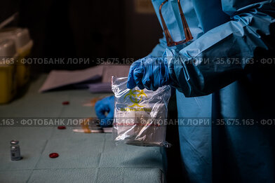 Phase of preparation of the doses of Covid 19 vaccine to be administered...