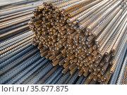 reinforcement for construction at shallow depth of field. Стоковое фото, фотограф Дмитрий Бачтуб / Фотобанк Лори