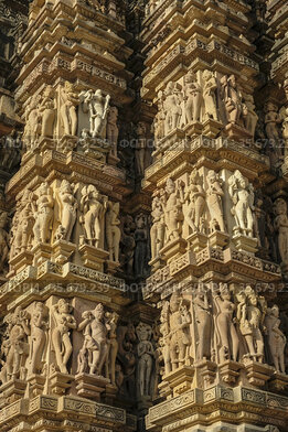 Detail of the Devi Jagadamba Temple in Khajuraho, Madhya Pradesh,...