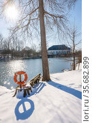 Winter landscape, river Lippe, Hamm, Ruhr area, North Rhine-Westphalia, Germany. Редакционное фото, агентство Caro Photoagency / Фотобанк Лори