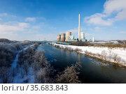Winter landscape, Lippe, RWE gas power plant, Hamm, Ruhr area, North Rhine-Westphalia, Germany. Редакционное фото, агентство Caro Photoagency / Фотобанк Лори