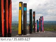 BOTTROP, GERMANY - DECEMBER 10, 2020: Totems on Haniel tip, landmark... Стоковое фото, фотограф Zoonar.com/Alexander Ludwig / easy Fotostock / Фотобанк Лори