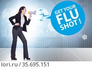 Concept of flu vaccination in winter. Стоковое фото, фотограф Elnur / Фотобанк Лори