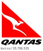 Logo of the Australian airline Quantas Airways Limited based in Botany... Стоковое фото, фотограф Peter Probst / age Fotostock / Фотобанк Лори