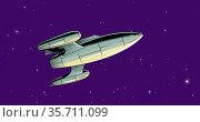 Composition of spaceship over stars on dark purple background. Стоковое фото, агентство Wavebreak Media / Фотобанк Лори