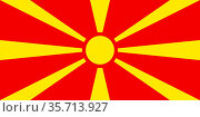 National flag of the Republic of Macedonia. (2018 год). Редакционное фото, фотограф Peter Probst / age Fotostock / Фотобанк Лори
