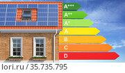 House energy efficiency concept. House with solar panel and energy efficiency rating. Стоковое фото, фотограф Maksym Yemelyanov / Фотобанк Лори
