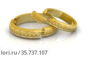 Разбитые обручальные кольца символизируют бракоразводный процесс. Стоковая анимация, видеограф WalDeMarus / Фотобанк Лори