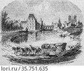 Un coche de terre in the seventeenth century, the picturesque magazin... (2009 год). Редакционное фото, фотограф Louis Bertrand / age Fotostock / Фотобанк Лори