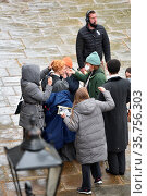 Claire Danes filming scenes for the new Apple TV+ show 'The Essex... Редакционное фото, фотограф WENN / age Fotostock / Фотобанк Лори