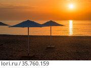 Row of beach umbrellas on a sandy beach by the sea in the morning. Стоковое фото, фотограф Константин Лабунский / Фотобанк Лори