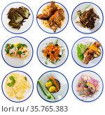 Collage of different dishes on round plates. Стоковое фото, фотограф Яков Филимонов / Фотобанк Лори