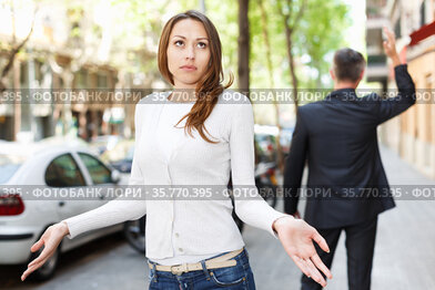 Offended girl after quarrel with boyfriend