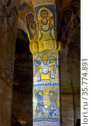 Fresken an der Nordwest-Säule im Inneren der orthodoxen Felsenkirche... Стоковое фото, фотограф Zoonar.com/Georg_A / age Fotostock / Фотобанк Лори