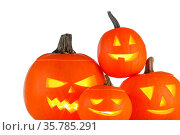 Group of Halloween Pumpkins isolated on white background. Стоковое фото, фотограф Zoonar.com/Ivan Mikhaylov / easy Fotostock / Фотобанк Лори