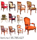 Composite picture with antique chairs in front of white background. Стоковое фото, фотограф Zoonar.com/BONZAMI Emmanuelle / age Fotostock / Фотобанк Лори