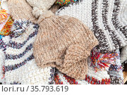 Traditional woolen hats of Madeira islands, Portugal. Close up (2017 год). Стоковое фото, фотограф EugeneSergeev / Фотобанк Лори