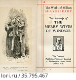 Frontispiece and title page from the Shakespeare play The Merry Wives... Редакционное фото, фотограф Classic Vision / age Fotostock / Фотобанк Лори