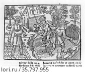 Woodcut showing farmers harvesting crops, 1296 by Pietro de'Crescenzi... Редакционное фото, агентство World History Archive / Фотобанк Лори