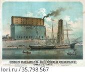 Ship 'David Dows' and boat unloading cargo at grain elevator; carts... Редакционное фото, агентство World History Archive / Фотобанк Лори