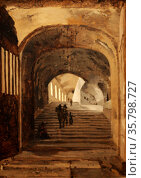 Staircase in the Entrance to the Villa of Maecenas at Tivoli attributed to Jean-Baptiste Camille Corot. Редакционное фото, агентство World History Archive / Фотобанк Лори