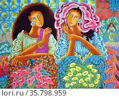 mario Parial, Two Women among the Flowers, 1993, Acrylic on canvas. Редакционное фото, агентство World History Archive / Фотобанк Лори