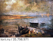 Felix Resurreccion Hidalgo, La Playa De Un Cadox, 1911. Oil on canvas. Редакционное фото, агентство World History Archive / Фотобанк Лори