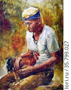 Diosdado Lorenzo, Man with Rooster, 1977. Oil on canvas. Редакционное фото, агентство World History Archive / Фотобанк Лори