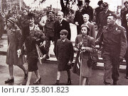 Crown Princess Martha; Prince Olav; Princess Ragnhild; princess Astrid and Prince Harald of Norway return home after the liberation of Norway. Редакционное фото, агентство World History Archive / Фотобанк Лори