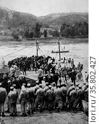 French military engineers prepare to transfer cavalry and horses across a river. Редакционное фото, агентство World History Archive / Фотобанк Лори