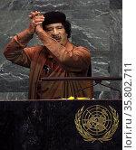 Muammar Gaddafi; Libyan ruler Addressing the UN General Assembly 2009. Редакционное фото, агентство World History Archive / Фотобанк Лори