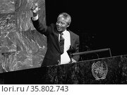 Nelson Mandela President of South Africa 1994-1998 addressing the UN General Assembly. Редакционное фото, агентство World History Archive / Фотобанк Лори
