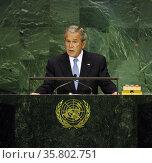 George W Bush US president 2001-2009 addresses the UN General Assembly 2007. Редакционное фото, агентство World History Archive / Фотобанк Лори