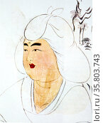 Woman under a tree, Japan, middle of the 8th century. Detail of a wall screen. India ink and pale colour on paper. Length of the face 4.5 inches. Редакционное фото, агентство World History Archive / Фотобанк Лори