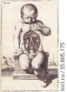 Anatomical drawing by Adriaan van den Spiegel. Редакционное фото, агентство World History Archive / Фотобанк Лори