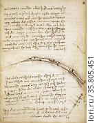 Codex on the Flight of Birds; circa 1505. By Leonardo da Vinci. Редакционное фото, агентство World History Archive / Фотобанк Лори