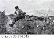 Idillio, Idyll 1885. Oil painting by Giovanni Segatini. Редакционное фото, агентство World History Archive / Фотобанк Лори