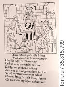 Romans de Chevalerie Francaise. Woodcut created by guillaume de roy 1480. Редакционное фото, агентство World History Archive / Фотобанк Лори