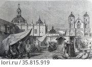 Engraving depicting a street scene in Lima. Редакционное фото, агентство World History Archive / Фотобанк Лори