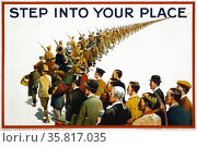 Step Into Your Place', 1915. Recruiting poster, World War One. Редакционное фото, агентство World History Archive / Фотобанк Лори