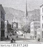 Engraving depicting a street scene in James St. Hamilton. Редакционное фото, агентство World History Archive / Фотобанк Лори
