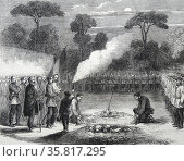 Engraving depicting the funeral of Ensign Tucker. Редакционное фото, агентство World History Archive / Фотобанк Лори